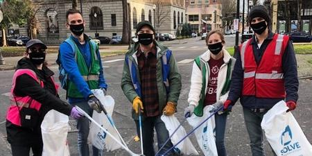 Portlanders wrap up Earth Month by cleaning up Downtown Portland with SOLVE.